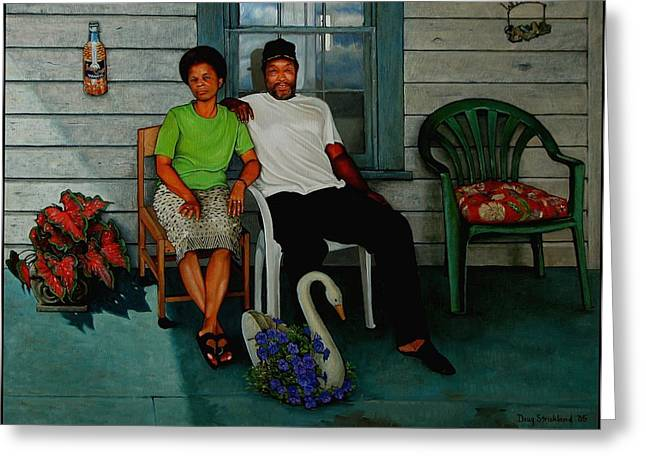 Negroes Paintings Greeting Cards - Edna and Sammy of Johnston County Greeting Card by Doug Strickland
