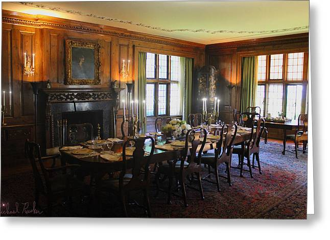 Candle Lit Greeting Cards - Edsel and Eleanor Ford Dining Room Greeting Card by Michael Rucker