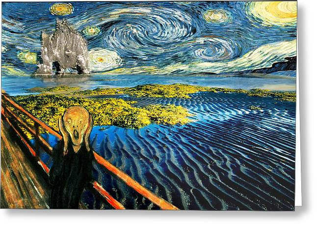 Spoof Greeting Cards - Edvard Meets Vincent Posters Greeting Card by Gravityx9  Designs