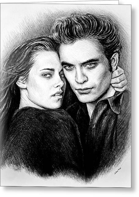 Swan Fantasy Art Greeting Cards - Edward and Bella Greeting Card by Andrew Read