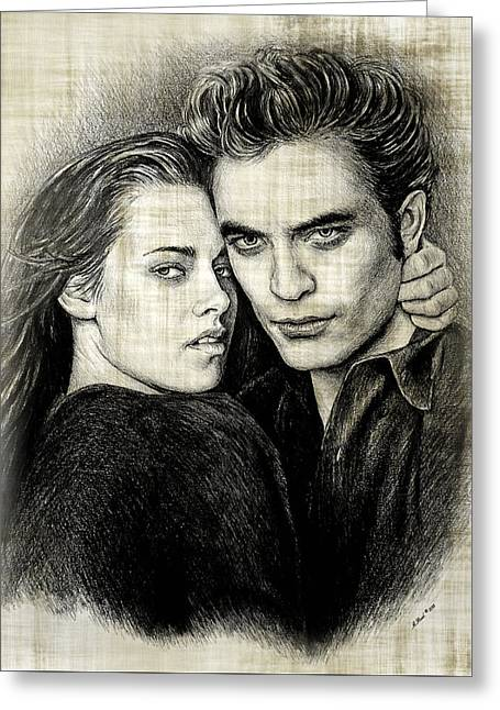 Swan Fantasy Art Greeting Cards - Edward and Bella version  2 Greeting Card by Andrew Read