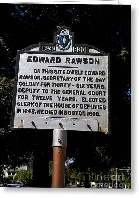 Massachusetts Bay Colony Greeting Cards - Edward Rawson Greeting Card by Jason O Watson