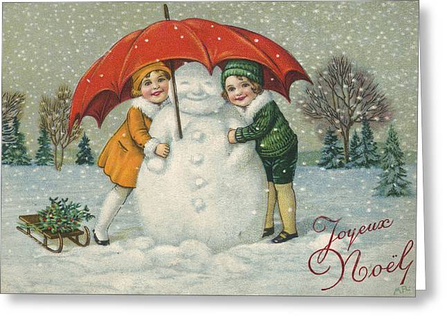 Snowman Christmas Card Greeting Cards - Edwardian Christmas Card Greeting Card by English School