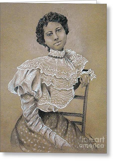 Edwardian Ebony Elegance -- Portrait Of Edwardian African-american Woman Greeting Card by Jayne Somogy