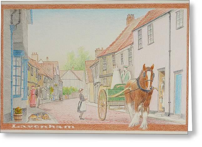 Horse And Cart Greeting Cards - Edwardian Lavenham UK Greeting Card by David Godbolt
