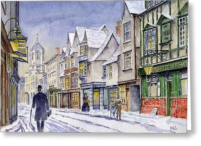 Winter Road Scenes Paintings Greeting Cards - Edwardian St. Aldates. Oxford UK Greeting Card by Mike Lester