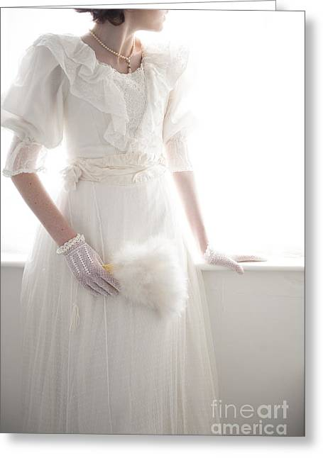 Ostrich Fan Greeting Cards - Edwardian Woman In A White Dress At The Window Greeting Card by Lee Avison