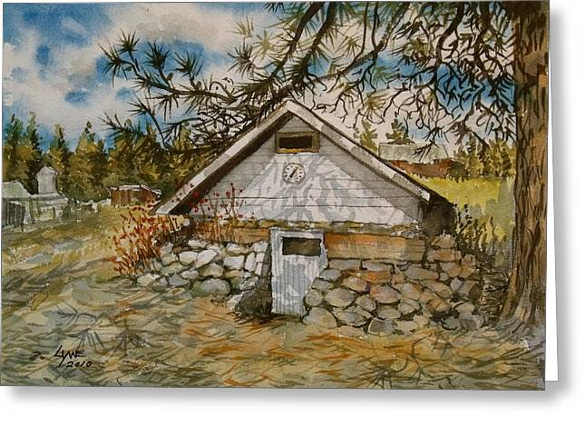 Tree Roots Paintings Greeting Cards - Edwards Root Cellar Greeting Card by Lynne Haines