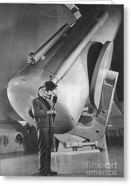 Science Collection - Greeting Cards - Edwin Hubble And Telescope Palomar Greeting Card by Science Source