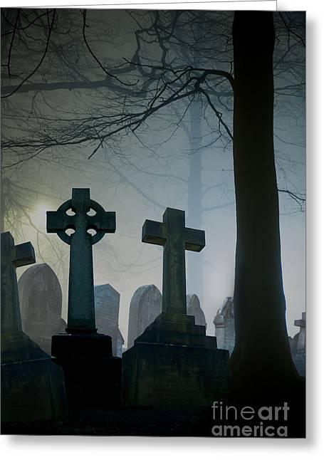 Wintry Greeting Cards - Eerie Graveyard At Night In Winter Fog Greeting Card by Lee Avison