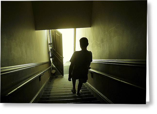 Eerie Stairwell Greeting Card by Scott Hovind