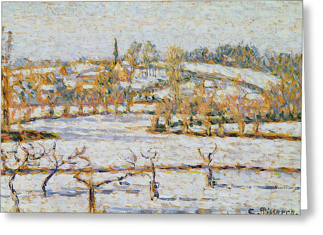 Effect Greeting Cards - Effect of Snow at Eragny Greeting Card by Camille Pissarro