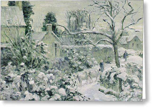 Effect of Snow with Cows at Montfoucault Greeting Card by Camille Pissarro