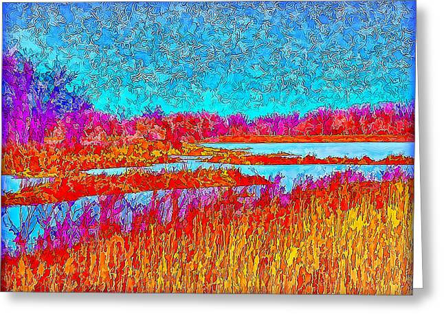 Effervescent Greeting Cards - Effervescent Grassy Meadow With Blue Lake Greeting Card by Joel Bruce Wallach