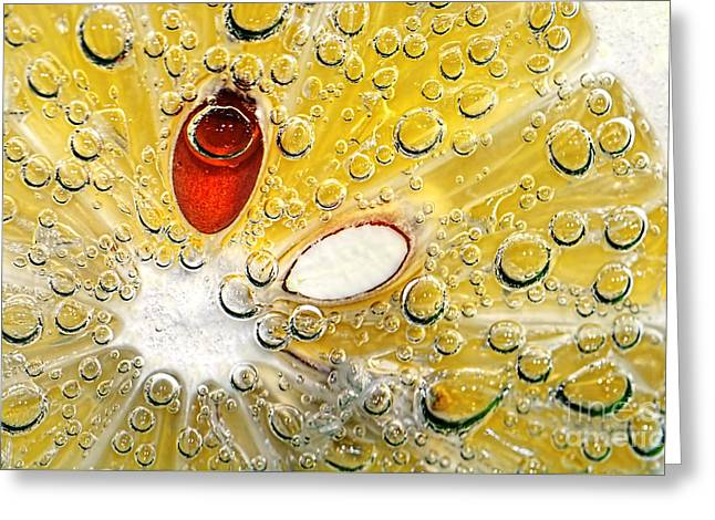 Effervescent Lemon Abstract Greeting Card by Kaye Menner