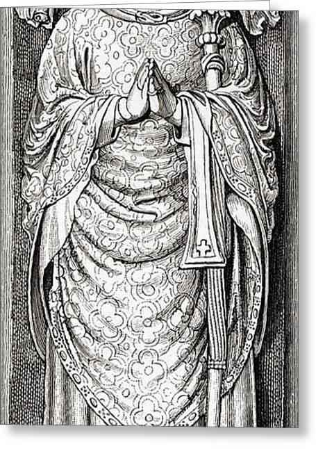 Chancellor Drawings Greeting Cards - Effigy Of William Of Wykeham On His Greeting Card by Ken Welsh
