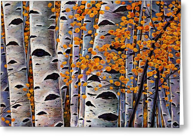 Leafs Paintings Greeting Cards - Effulgent October Greeting Card by Johnathan Harris