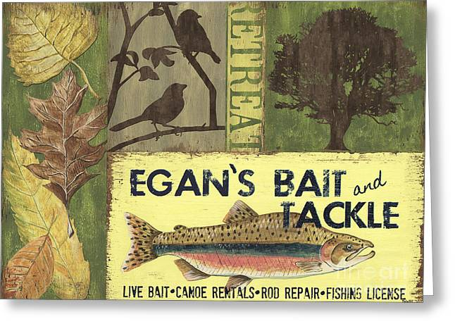 Green Canoe Greeting Cards - Egans Bait and Tackle Lodge Greeting Card by Debbie DeWitt