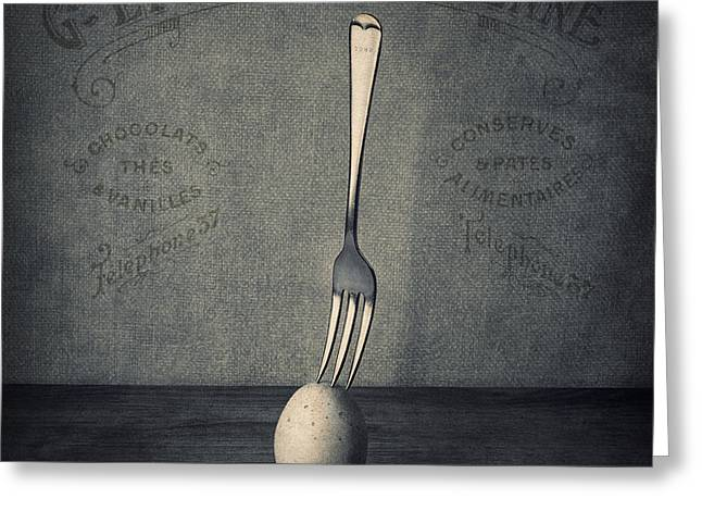 Still Life Glass Greeting Cards - Egg and Fork Greeting Card by Ian Barber