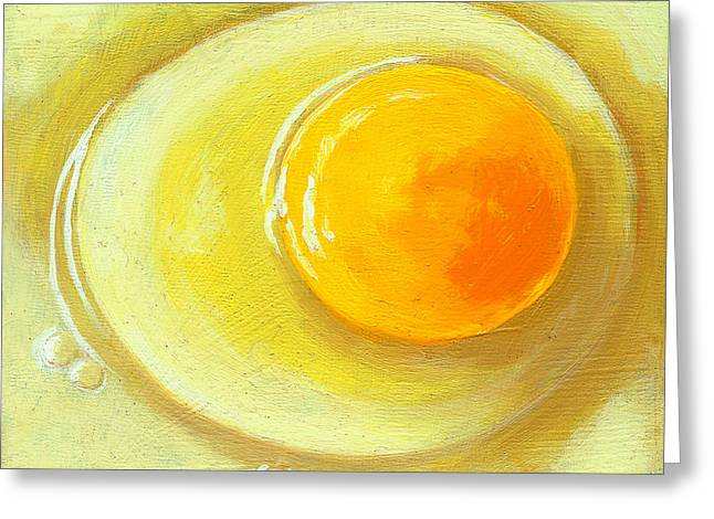 Linda Apple Greeting Cards - Egg on a Plate - realism painting Greeting Card by Linda Apple