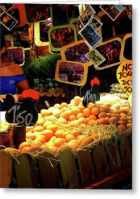 Local Food Greeting Cards - Egg Stand Barcelona Market Greeting Card by Julie Palencia