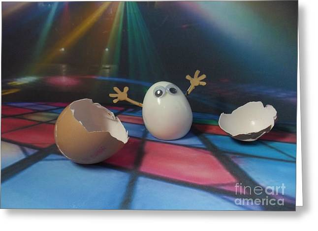 Nightclub Pastels Greeting Cards - Eggbert really came out of his shell on the dancefloor Greeting Card by Caroline Peacock