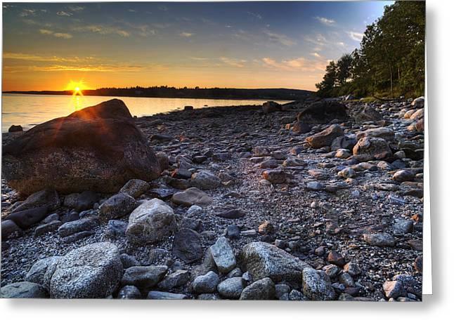 Maine Shore Greeting Cards - Eggemoggin Reach Sunset Greeting Card by John Sandiford