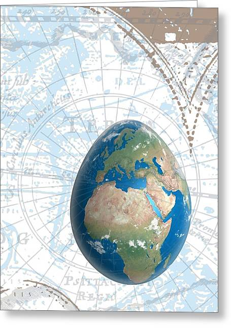 Planet Map Greeting Cards - Egground the World Greeting Card by Francois Domain