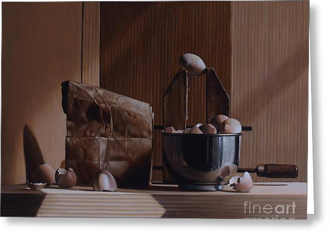 EGGS AND CARDBOARD Greeting Card by Larry Preston