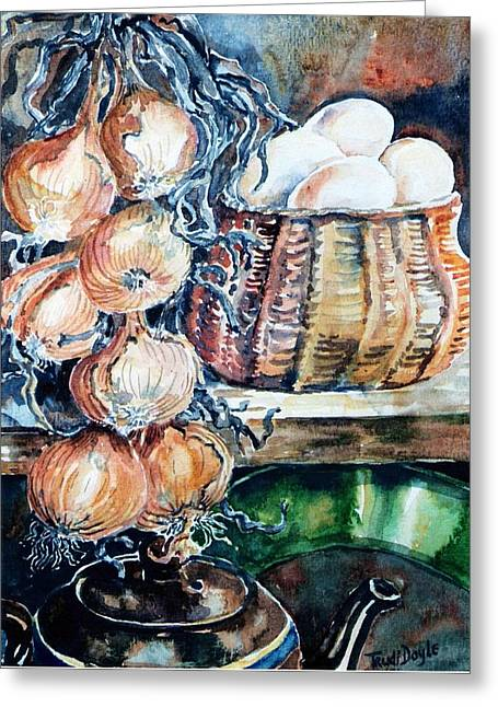 Larder Greeting Cards - Eggs and Onions in the Larder  Greeting Card by Trudi Doyle
