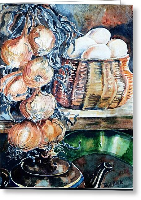 Eggs And Onions In The Larder  Greeting Card by Trudi Doyle