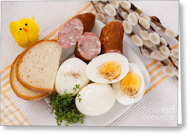 Eggs With Bread And Sausage Easter Food  Greeting Card by Arletta Cwalina