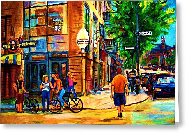 Streetfood Greeting Cards - Eggspectation Cafe On Esplanade Greeting Card by Carole Spandau