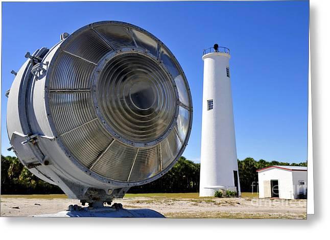 Historic Florida Greeting Cards - Egmont Key Lighthouse 1858 Greeting Card by David Lee Thompson