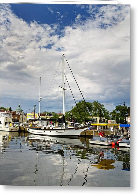 Docked Sailboats Photographs Greeting Cards - Ego Alley Annapolis Maryland Greeting Card by Brendan Reals