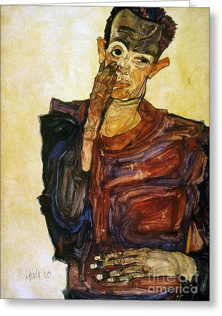Self-portrait Greeting Cards - Egon Schiele (1890-1918) Greeting Card by Granger