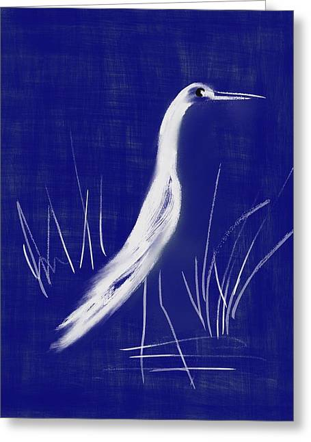 Saw Greeting Cards - Egret Abstract Greeting Card by Frank Bright