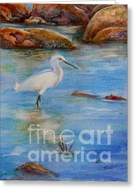 Egret At Malibu Beach Greeting Card by Patricia Pushaw