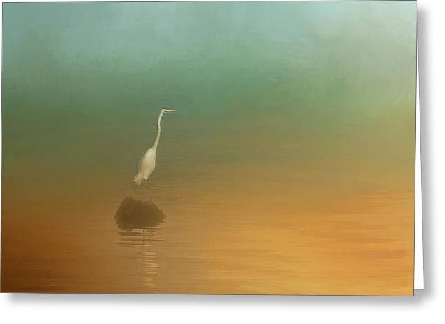 Ocean Shore Greeting Cards - Egret at Sea Greeting Card by Jai Johnson