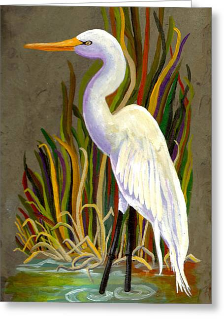 Egret Greeting Card by Elaine Hodges