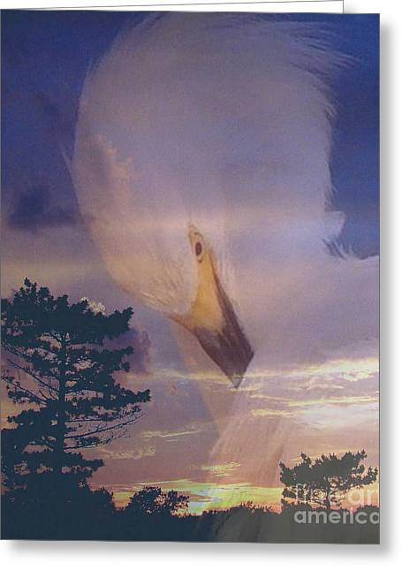 Gloaming Mixed Media Greeting Cards - Egret ends Greeting Card by Priscilla Richardson