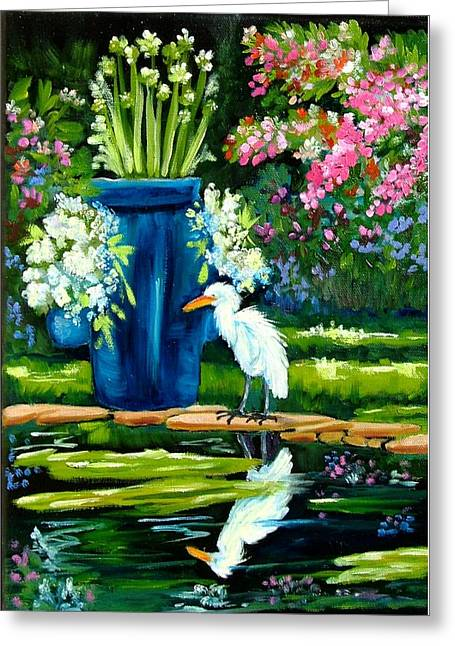 Edison Greeting Cards - Egret visits goldfish pond Greeting Card by Carol Allen Anfinsen