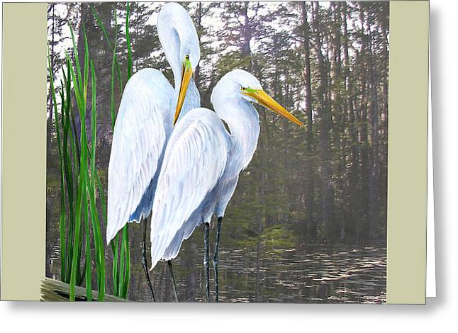 Egrets and Cypress Pond Greeting Card by KEVIN BRANT