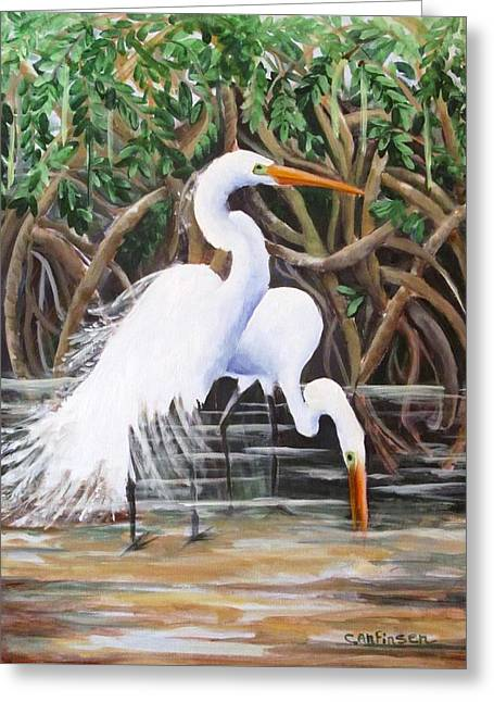 Egrets And Mangroves Greeting Card by Carol Allen Anfinsen
