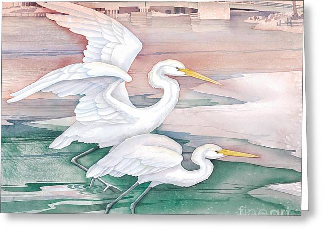 Egrets Greeting Cards - Egrets at Tarpon Dock Greeting Card by Paul Brent
