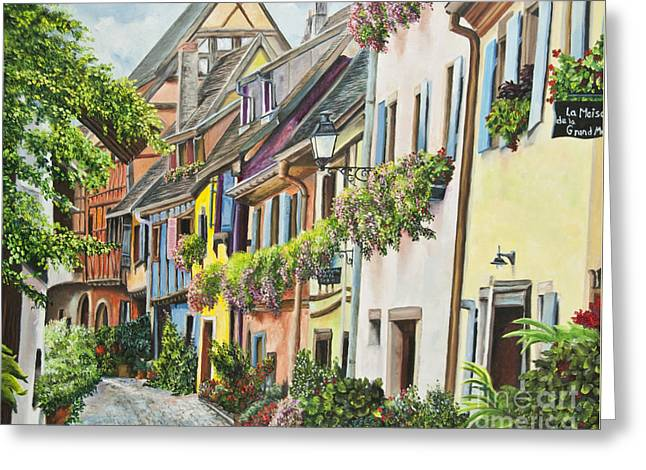 Hanging Baskets Greeting Cards - Eguisheim In Bloom Greeting Card by Charlotte Blanchard