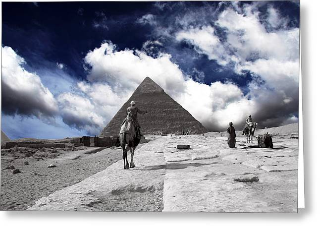 Pyramids Greeting Cards Greeting Cards - Egypt - Clouds Over Pyramid Greeting Card by Munir Alawi
