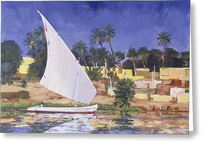 Locations Paintings Greeting Cards - Egypt Blue Greeting Card by Clive Metcalfe