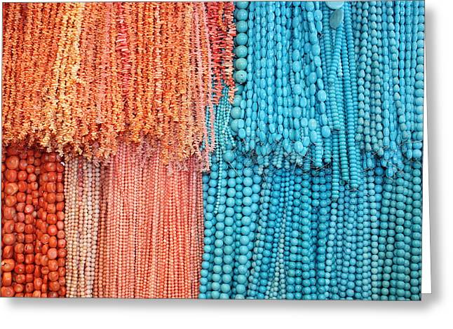 Yvonne Ayoub Greeting Cards - Egypt Coral and Turquoise from Mount Sinai Egypt Greeting Card by Yvonne Ayoub