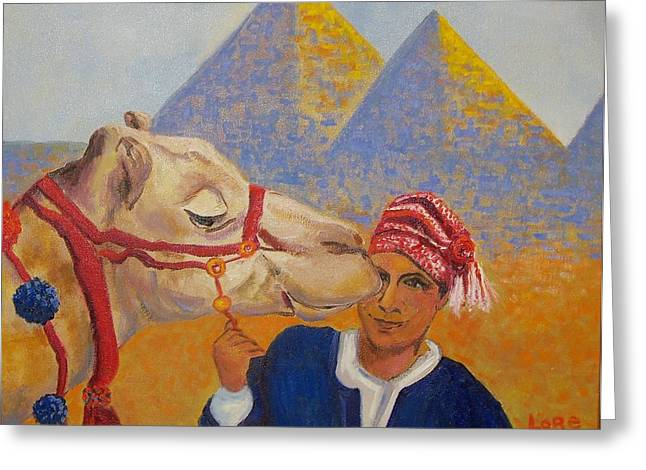 Egyptian Boy With Camel Greeting Card by Lore Rossi